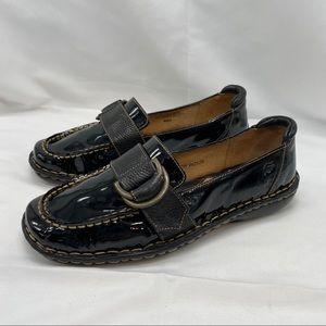 Born Black Patent Leather Adjustable Buckle Loafer